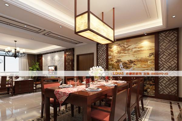 富有中国古典气息的中式餐厅带给人一种温暖、团圆的感觉,餐厅背景墙同样采用中国气息凝后的山水画,与整体复古设计相结合。