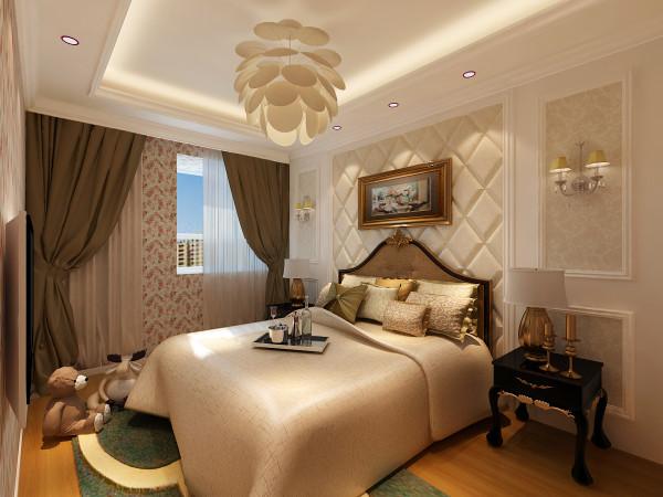 主卧是主人每天居住的雅居,同时也是主人身份的象征,主卧用浅驼色软包做了背景墙,加以深色窗帘的对比,同时又选用了欧式风格的铁艺灯具,凸显了整个卧室的高贵,温馨。