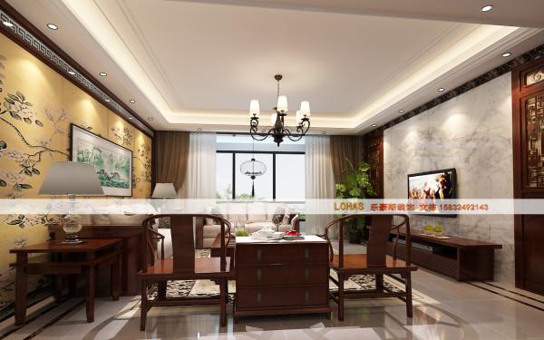 电视背景墙采用简单大方的大理石设计,使整个客厅显得很宽敞。