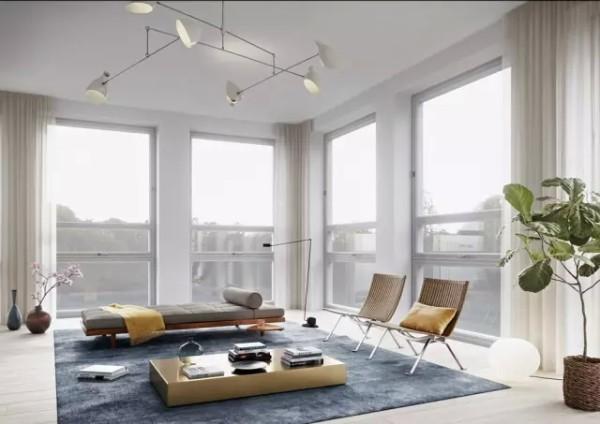 ▲这所公寓原来是所学校,由两个独立的建筑实验室和教室合并成为一体。从客厅来看,高挑的天花板,一整片落地窗户以及带有复古元素的现代化家具让整个空间显得格外优雅。