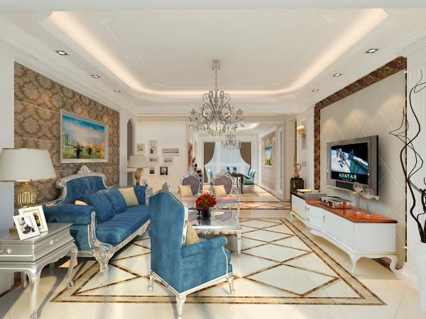客厅沙发背景墙以白色石膏板造型搭配咖色大花纹软包,同时又结合了深蓝色的欧式家具,色彩对比。整个空间看起来爽利、爽洁和传统欧陆风格的精美、绮丽。