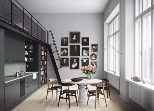 另一处的厨房最大亮点莫过于它的墙面设计,用一组艺术家的照片来示意这所公寓的本身是座学校。