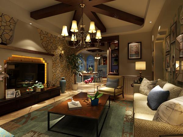 龙泊桂园 137平四居室 美式风格 装修设计案例=客厅电视背景墙