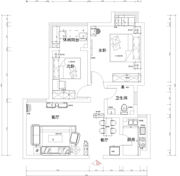 正商蓝海港湾 86平两居室 现代风格 装修设计案例-平面布置图