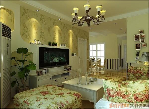 滨河绿苑 99平两居室 美式田园风格 装修设计案例-客厅电视背景墙