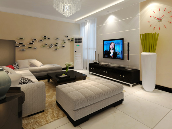 正商蓝海港湾 86平两居室 现代风格 装修设计案例-客厅电视背景墙