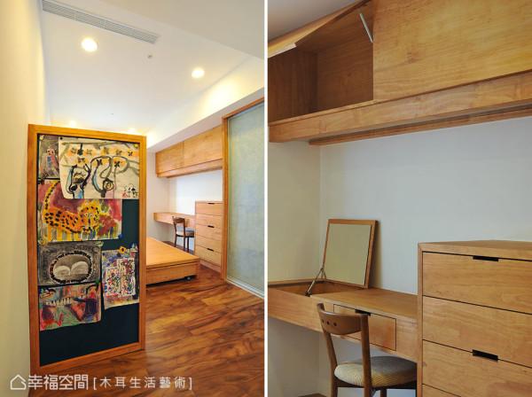 以屏风设计房间入口处,在视觉上可以保有私人隐密性,而量身打造的桌椅更将机能一并纳入设计。