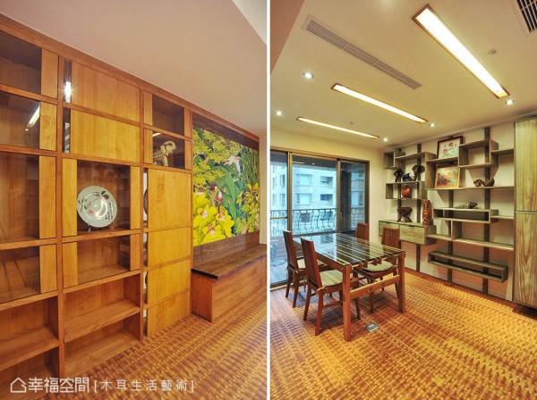 两面分别设计不同样式的展示橱柜,一方像是现代摩登的艺术展示;另一面则为偏中式的博古架面,可以摆放屋主收藏的各式古玩。