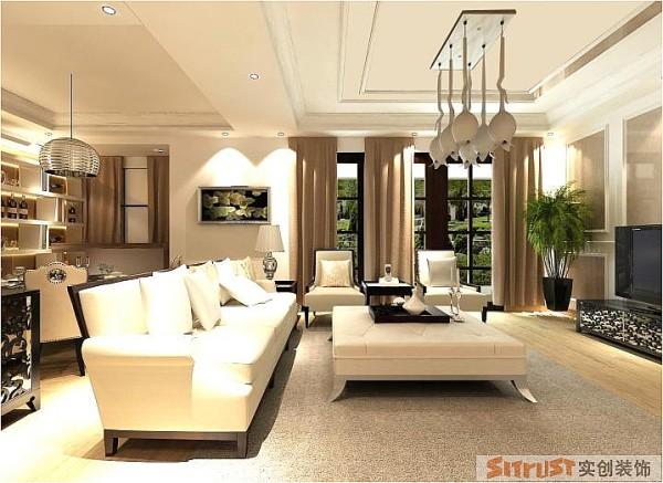 有质感的窗帘,再配上造型特别的灯具,整个装修华而不失简单,简单中透着大气。
