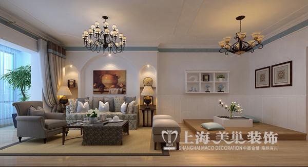 郑州逸泉小区地中海风格装修设计案例效果图——三室两厅120平客厅沙发背景墙效果图