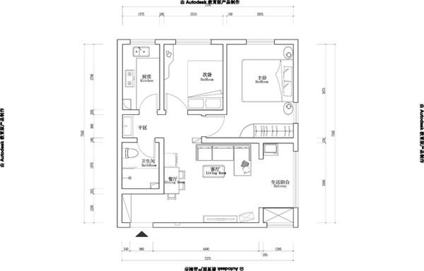 郑州幸福港湾装修设计两室两厅户型80平案例——平面布局方案