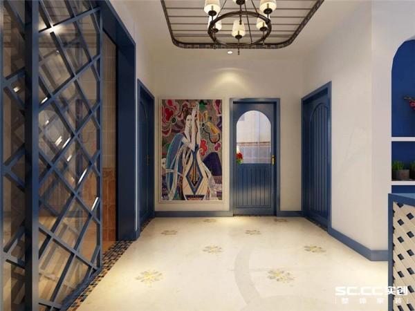 过廊作为过渡区间,采用白色的主色,搭配马赛克装饰复色,既迎合了地中海的洁净,又摒弃了复杂的造型,自然大方。