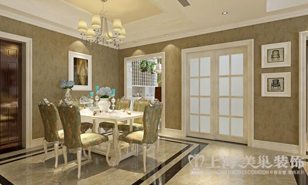 郑州圣堤亚纳130平简欧装修三居室案例效果图——餐厅效果图,大部分处在挑空结构之下,大面积的玻璃窗带来了良好的采光