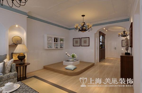 逸泉小区120平居室装修设计效果图——地中海风格案例地台,因为客厅的面积比较大,我们又在角落的位置定制了一块地台,打造了一个休闲区域,如果真的来了客人,也可临时应付,一举两得。