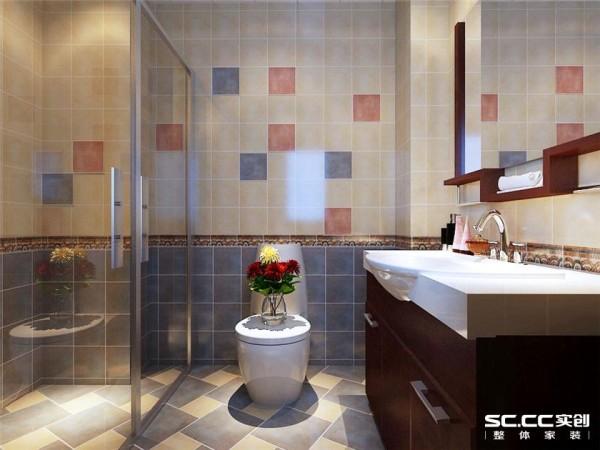 仿古砖的自然大方,搭配淳朴的洁具木柜,让卫生间也有自然的淳朴气息。