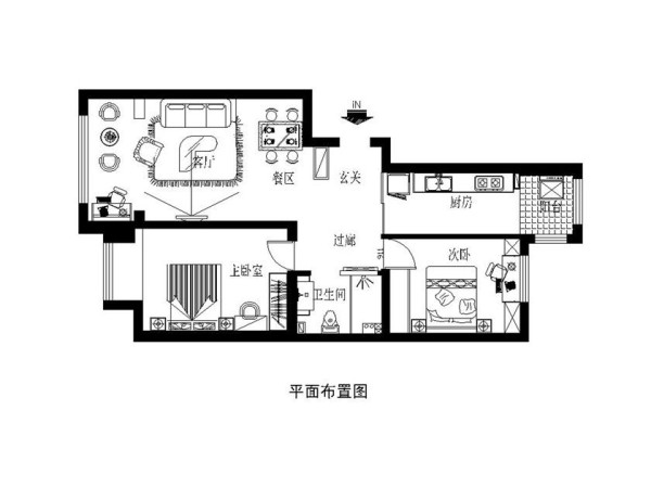 雅居乐两居室温馨地中海设计户型图