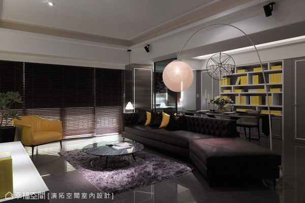 公领域采用黑、灰、白为主色系,试图在现代与古典两种风格中,创造沉稳简约的空间调性。