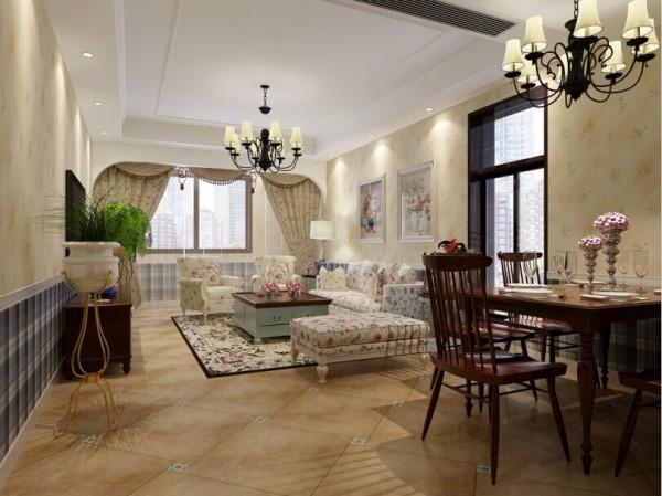 蓝堡湾 110平三居室 美式田园风格 装修设计案例 效果图-餐厅