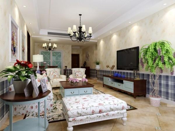 蓝堡湾 110平三居室 美式田园风格 装修设计案例 效果图-客厅电视背景墙