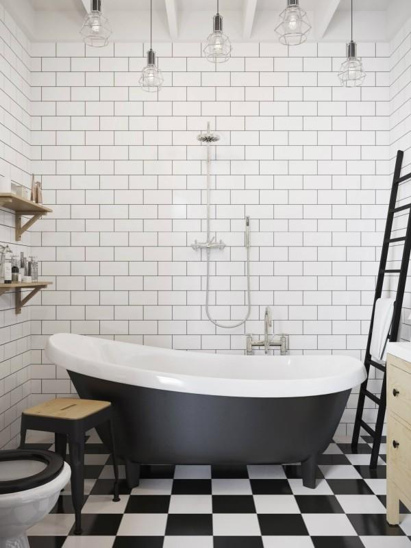 采用最经典的黑白色装饰浴室,不仅带来沉静的气息,更带来一种升华的精神。搭配一些原木材质,复古浴缸,楼梯装饰等,让空间不会显得冷漠单调。