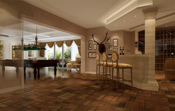 绿洲千岛花园别墅户型装修美式风格设计方案展示,腾龙别墅设计师
