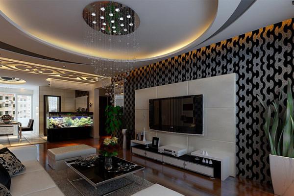 开平小区 四居室 简约风格装修设计案例 效果图-客厅电视背景墙