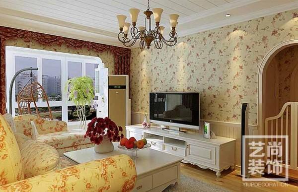 郑州长江一号80平方两室两厅田园风格样板间装修案例效果图
