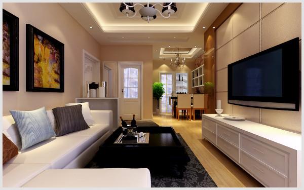 东方国际广场 132平三居室 简约风格装修设计案例 效果图-客厅