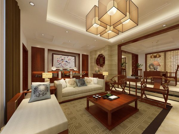 南郊中华园别墅户型装修新中式风格设计方案展示,腾龙别墅设计师林财表作品,欢迎品鉴