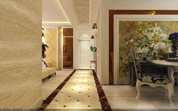 中豪汇景湾 108平三居 简欧风格 装修设计案例 效果图-走廊