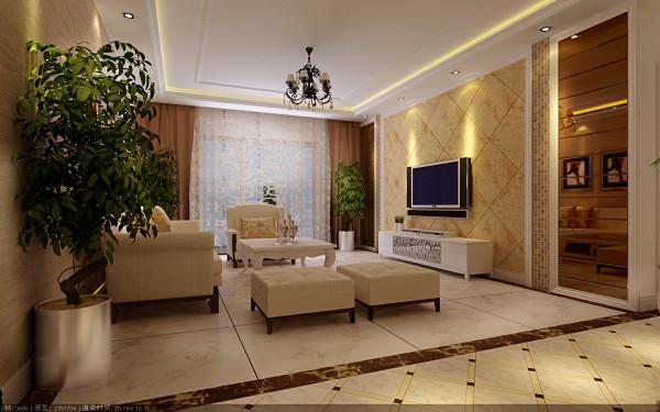 中豪汇景湾 108平三居 简欧风格 装修设计案例 效果图-客厅电视背景墙