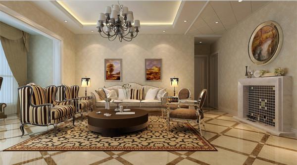 祝福红城 三室两厅 144平米 简欧风格 装修设计 案例效果图--客厅