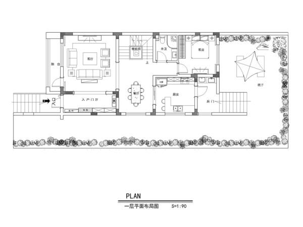 保利紫晶山292平别墅-一层平面布置图