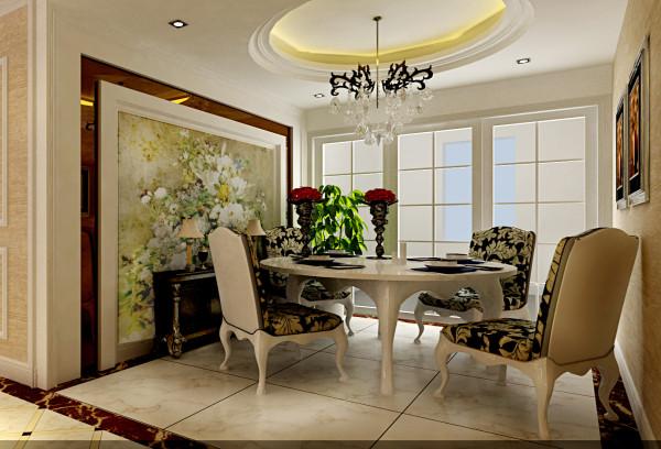 中豪汇景湾 108平三居 简欧风格 装修设计案例 效果图-餐厅