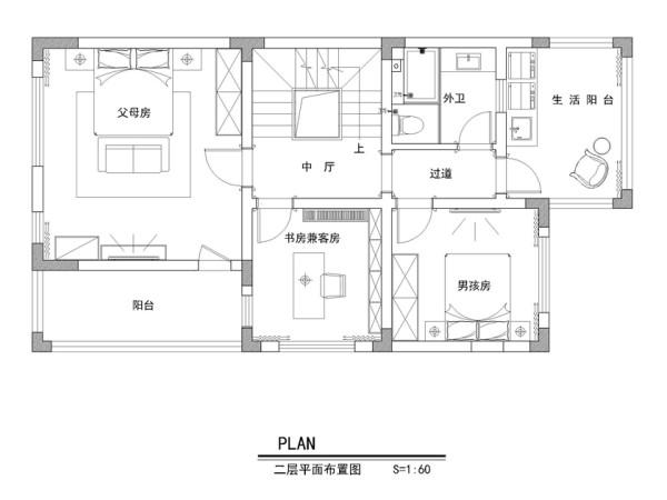 保利紫晶山292平别墅-二层平面布置图