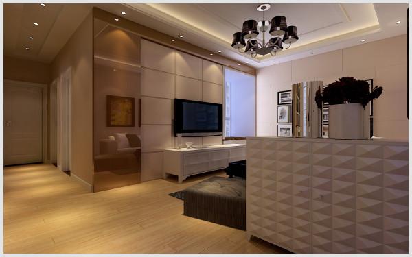 东方国际广场 132平三居室 简约风格装修设计案例 效果图-客厅电视背景墙