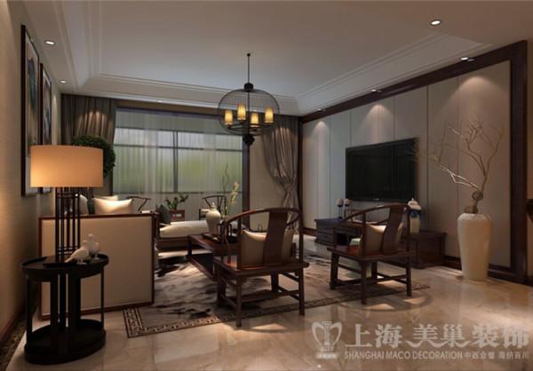 新中式风格装修天骄华庭140平案例效果图——客厅