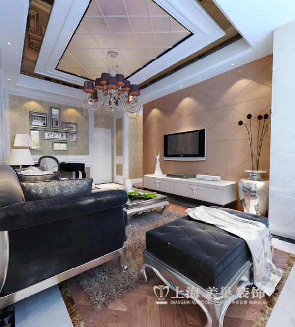 鑫苑现代城装修220平简欧复式样板间效果图——二楼会客厅。