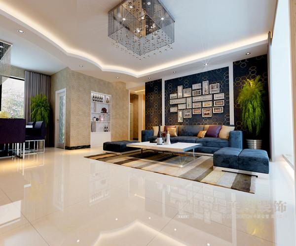 现代简约紫荆尚都138平装修效果——客厅沙发背景墙