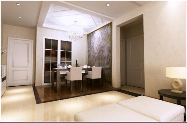 浐灞半岛现代风格三居室装修餐厅效果图