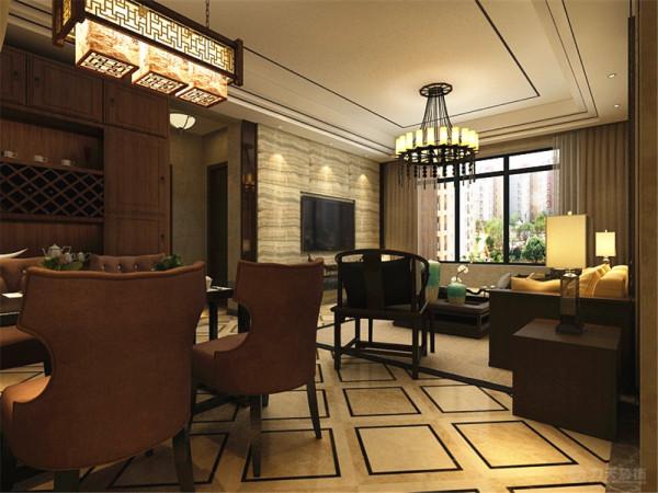 餐厅背景墙采用硬包和木线的结合,既有中式传统的感觉又不失现代的简约