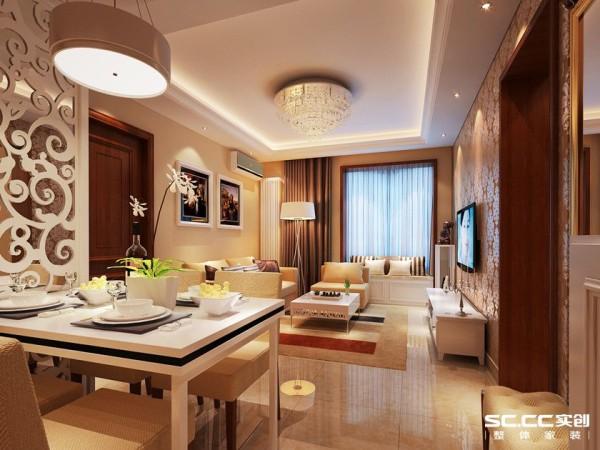客餐厅:浅色家具使厨房餐厅空间显得明快、轻松,配上一个小圆灯,一家人其乐融融的景象很温馨。
