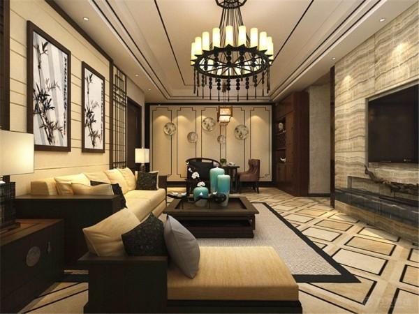 此户型为中粮大道两室两厅一厨二卫100㎡户型,整体风格定义为新中式,地面用了拼花,作为分区,顶面,做阶梯吊顶,圈木线,比较有层次,电视背景墙铺石材,电视凹进去,比较整体,