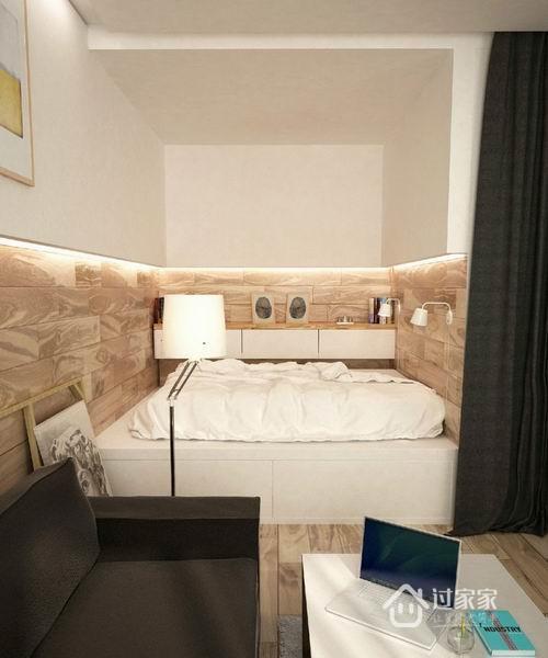 卧室也被安放在了客厅一角,简单的帘子保护主人必要的隐私