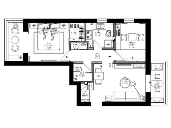 原始空间的卧室空间很多都被浪费掉,对于一个二居室来说储物空间很重要,通过墙体改造,划分出一个衣帽间的空间,使室内空间更整洁、打掉厨台增加主卧采光。