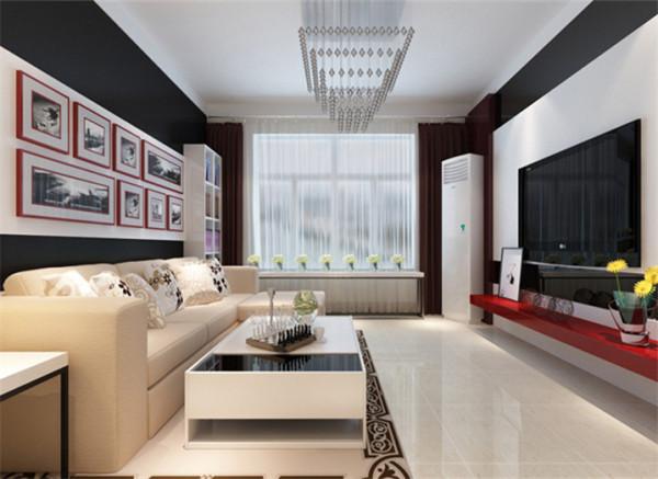 客厅黑白搭配的背景布满整个电视背景墙,以黑色的外框包含白色的里衬,简单而又大方。