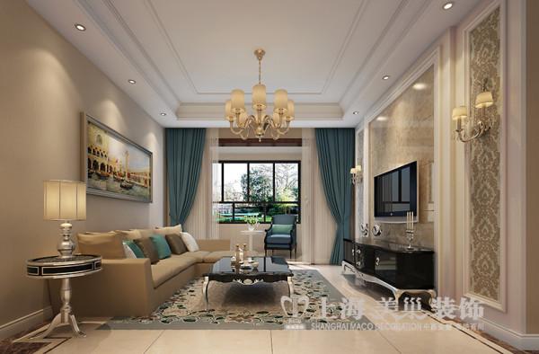 建业贰号城邦装修88平三室两厅简欧样板间效果图——客厅全景效果图,从整体到局部、从空间到室内陈设塑造,精雕细琢,给人一丝不苟的印象。
