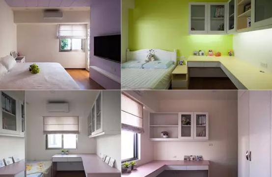 紫色主卧、黄绿色男孩房、粉色女孩房,都根据家人自己喜欢的颜色打造。
