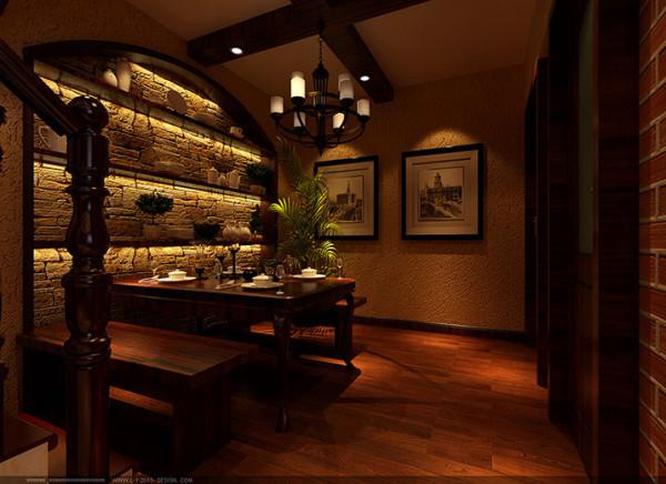 餐厅右面墙采用红砖垒砌,美式乡村风格红基砖经过作旧处理,生活家装饰装修风格让人舒适放松身心回归乡村的感觉更浓了,圆拱形酒架内嵌淡黄色的文化石给人以一种岁月沧桑之情。