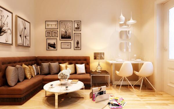 客厅浅色地板在咖色卡座沙发的衬托下显得有股北欧的气息